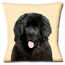 Newfoundland Dog Cushion Cover 16 inch 40 cm Black Dog Photo Cream