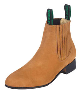 Men's Botin Charro La Barca 500B Ankle Boots Nubuck Leather Color Camel