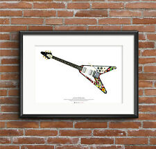 Jimi Hendrix's 1967 Gibson Flying V guitar ART POSTER A2 size