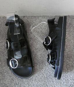 Black Croc Effect Buckle & Stud Detail Footbed Flat Sandals Size UK 6 EU 39