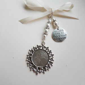 Wedding bouquet charm silver round locket, Missing you as I walk down the aisle