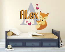 Personalized Custom Name & Initial Baby Fox Wall Decal