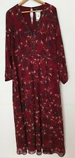 City Chic Maroon Floral V Neck Long Sleeve Maxi Lined Sz M 18 BNWT RRP$139.95