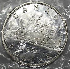 CANADA 1963  $1 DOLLAR  ELIZABETH II  SILVER COIN  UNC PL # DBW