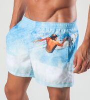 Geronimo Homme Natation Short Blanc Bleu Surf Natation Short Actif Sports Plage