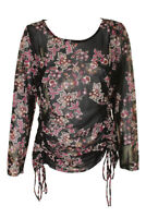 Inc International Concepts Black Multi Floral Printed Ruched Mesh Top XL
