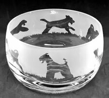 More details for airedale terrier  frieze 12cm boxed crystal glass bowl