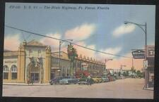 POSTCARD FT FORT PIERCE FL/ U.S. #1 DIXIE HIGHWAY BUSINESS STORE FRONT 1940'S
