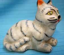 "Sad Kitty Cat Hand Painted Figurine 3"" Tall Tan Pottery/Ceramic"