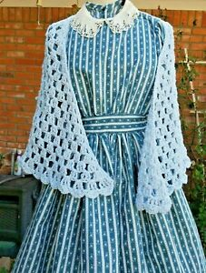 DRESS PETTICOAT COLLAR & SHAWL Girl's Size 8 Civil War Style Blue Floral Print