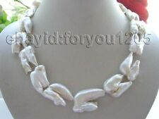 "18.5"" Genuine Natural 35mm white Reborn Keshi Pearl necklace 14k #f1496!"