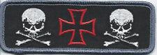 Iron Cross With Skulls Funny Motorcycle MC Club BIKER PATCH