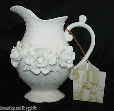 NEW-ANTIQUE REFLECTIONS WHITE/IVORY 3-D FLOWER CERAMIC WATER,ALL PURPOSE PITCHER