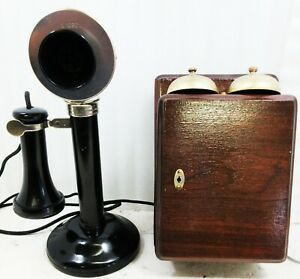 Candlestick Table Telephone English Circa 1900's Operational