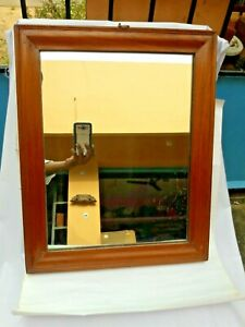 Antique Indian Hard Teak Wood Wooden Framed Vanity Mirror Home-Decor Collectible
