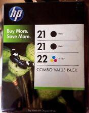 HP 21/21/22 Genuine Ink Cartridge - 2x Black & 1x Tri-Color - NEW - OEM 02/2011