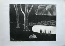 Handgefertigt mit Linolschnitt mit Landschafts-Thema