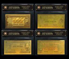FULL PRE DECIMAL SET COLOURED  24KT GOLD FOIL 999.9 GOLD BANK NOTE BANKNOTE