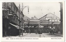 Tram & Horse Bus At Brighton Station RP PPC Pamlin No M536, Unposted