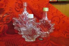 Lot of 3 Vintage Collectible Empty Maple Leaf Shaped Figural Glass Bottles
