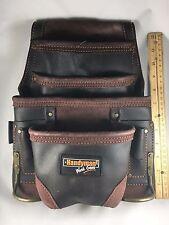 Oil Tanned Leather 10 pkt Carpenter Tool Pouch Waist Bag w/ Steel Hammer Holder