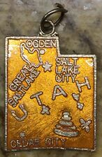 Vintage Orange Copper Utah State Houston Salt Lake Cedar City enamel charm