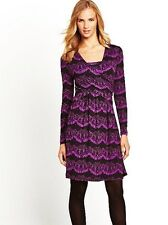 NEW JOE BROWNS BLACK PURPLE MOCK WRAP LACE PRINT SLEEVED JERSEY DRESS SIZE 14
