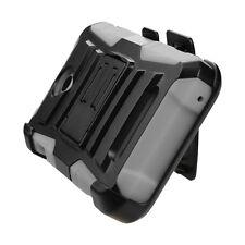 For ZTE Obsidian Z820 - Gray Hybrid Hard & Soft Case Cover Holster + Belt Clip