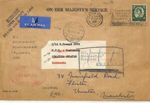 GB INDONESIA AIR Admiralty Official WILDING Cover Forwarded *Pladju* 1961 AO89