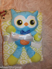 BLANKET & SECURITY PLUSH TOY OWL LOT OF 2 BABY GEAR GREEN BLUE GEO COMBO NEW