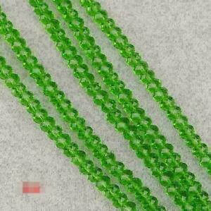 New 4mm 72 pcs Faceted Rondelle Bicone Crystal Jewelry Beads green