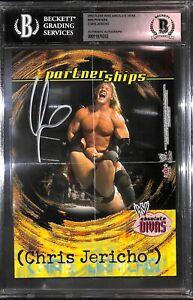 Chris Jericho Signed 2002 Fleer WWE Asolute Divas Mini Posters Card BAS COA AEW
