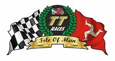 Isle Of Man Mann Flag and Crest For TT Races Cafe racer car Helmet sticker 75mm