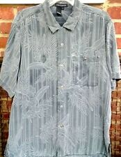 Tulliano Gray Silk Pinstripe Jaquard Size L White Outline Floral Metal Buttons