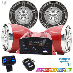 UTV,ATV, Anti~Theft Speakers USB Audio System Stereo Bluetooth Motor Remote