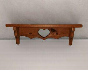 "18"" Heart Shelf peg vintage solid wood cut out 4"" deep"