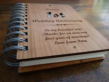 Personalised 5th Wedding Anniversary Wooden Notebook: Wood Card Cover : Gift