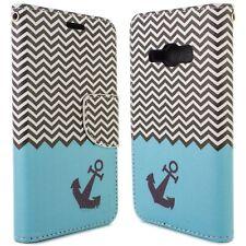 for Samsung Galaxy J1 Ace Wallet Case - Blue Chevron Design Folio Phone Pouch