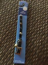 New listing Cat Collar ~ Soft Leather~ 3/8 In X 12 In ~ Black with Studs ~ New