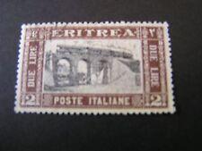 *ERITREA, SCOTT # 124, 2lira. VALUE CHOCOLATE & BLACK PICTORIAL1930 ISSUE USED