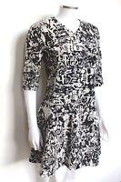 Carven Black Graffiti Printed wool-crepe dress 38 uk 10