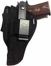 "Gun holster fits Browning Hi Power w 4 5/8"" brl use Right or Left Hand OWB Black"