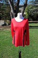 NWOT Lauren Ralph Lauren Active Madison Red and Black Top Size Large