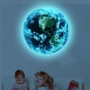 Luminous Light Blue World Earth Sticker Wall Stickers Children's Room Home Decor