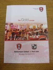21/04/2014 Rotherham United v Port Vale-menú de página de cuatro brillante, el salón de oro