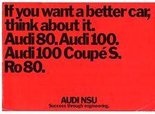 Audi NSU 1973-74 UK Market Foldout Sales Brochure 80 100 Ro80