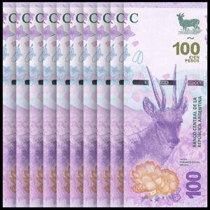 Lot 10 PCS, Argentina 100 Pesos, ND(2018), P-New, Banknotes, UNC