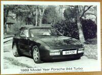 PORSCHE 944 TURBO PRESS PHOTOGRAPH CIRCA 1989 BLACK & WHITE