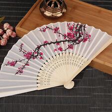 Chinese Flower Silk Bamboo Folding Hand Held Fan Elegant Lady Wedding Dance LS