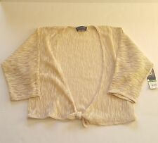 Jones New York Signature Petite Cardigan Sweater 3/4 Sleeve Tie Front Tan Large